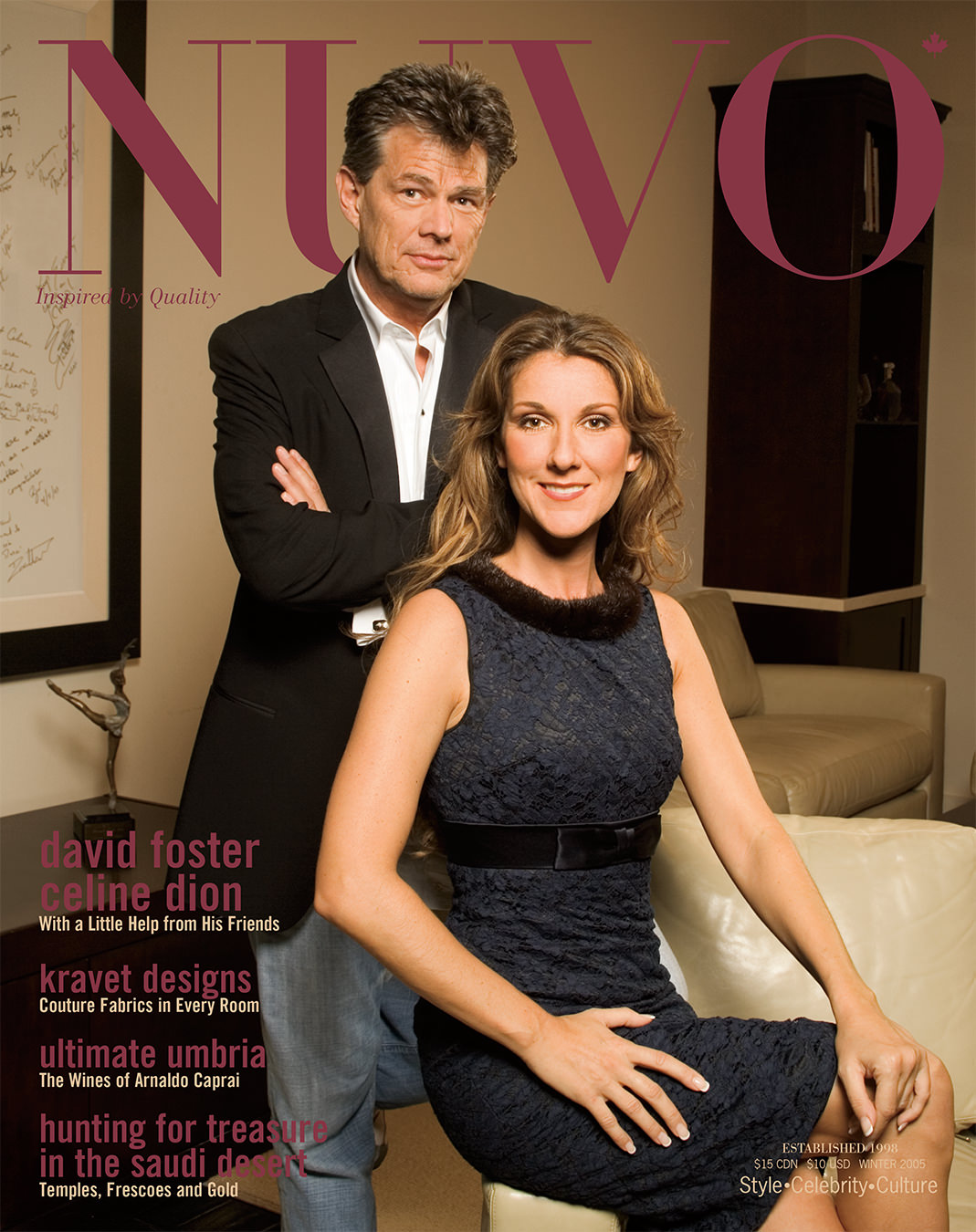NUVO Magazine Winter 2005 Cover featuring David Foster and Celine Dion