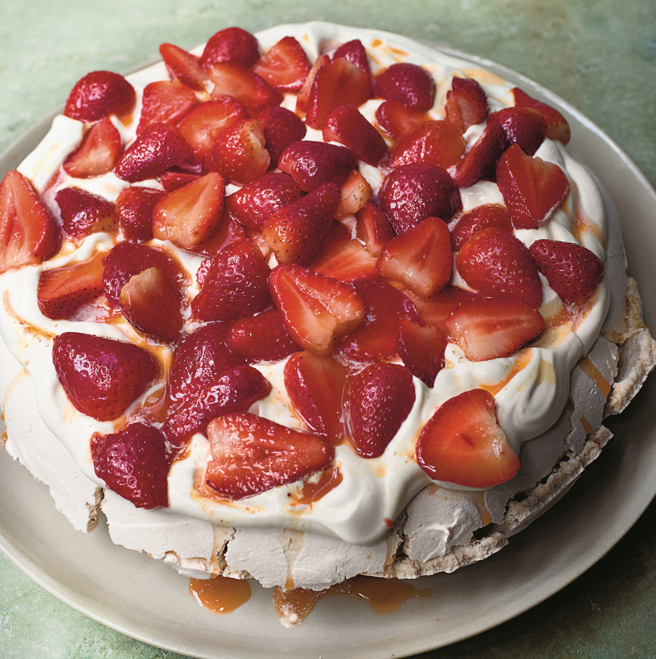 Rose and Pepper Pavlova with Strawberries and Passionfruit