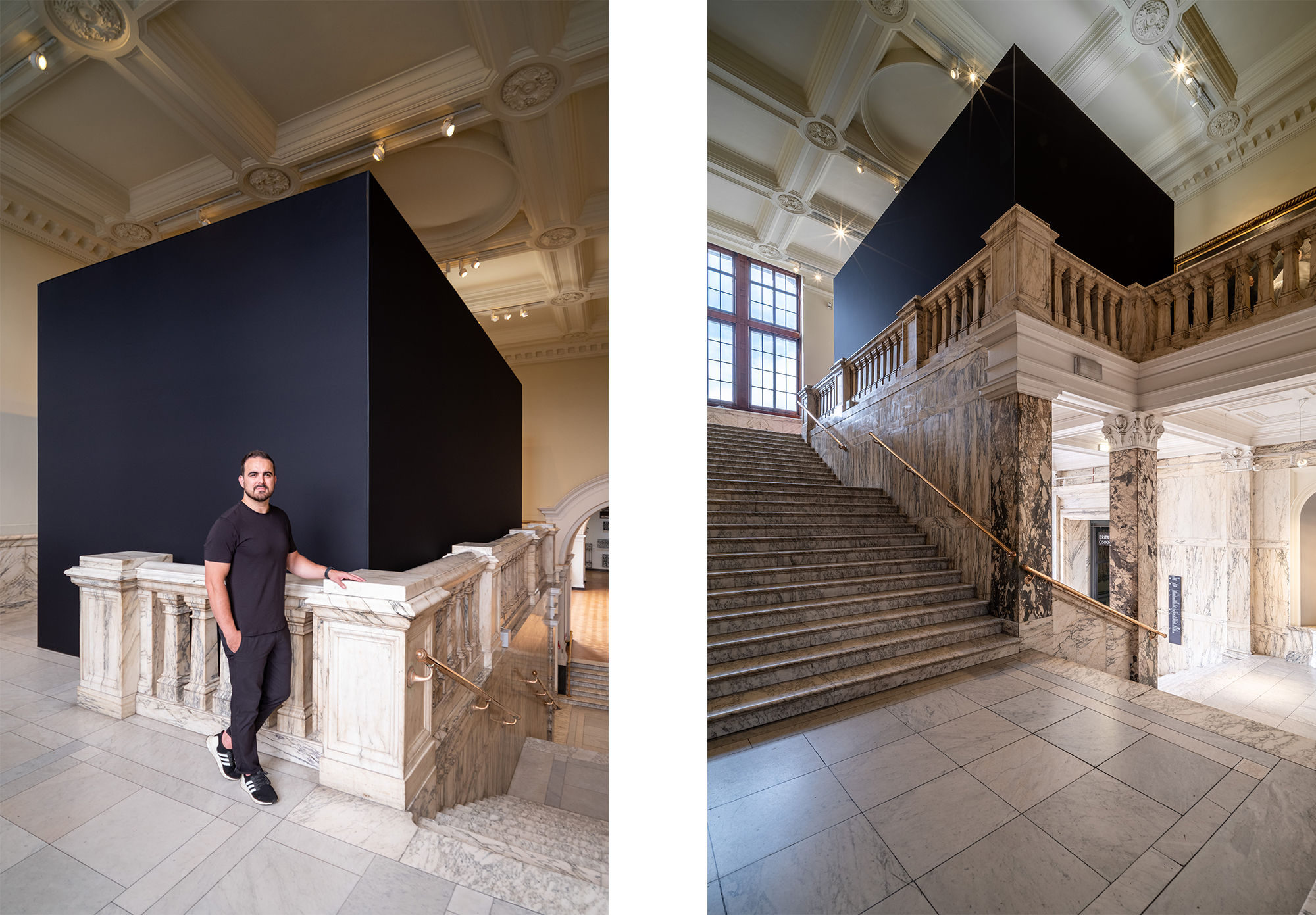 Outside AVALANCHE exhibition: a massive black cube in a Victorian hallway.