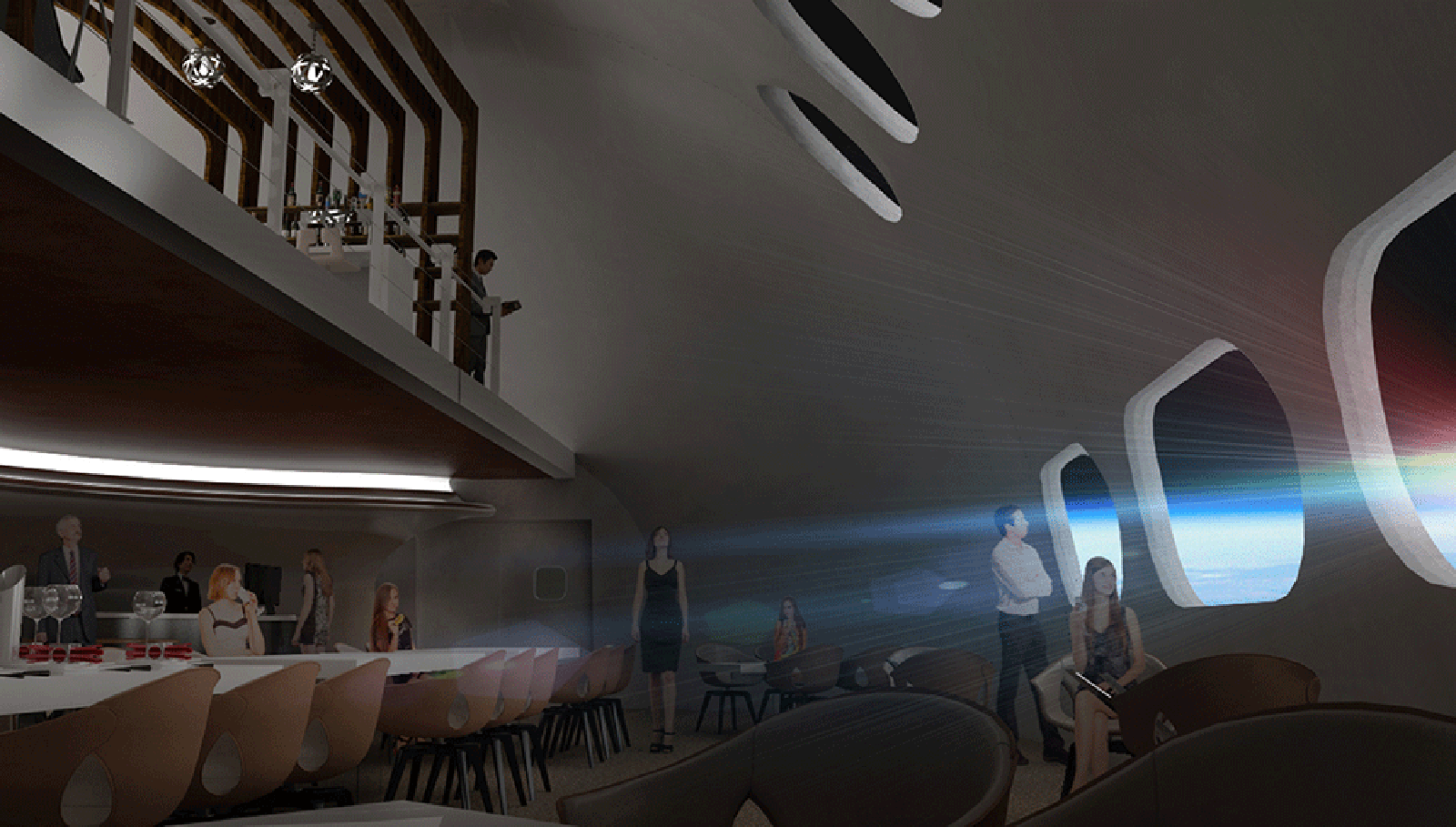 Restaurant with a view of the cosmos. (rendering)