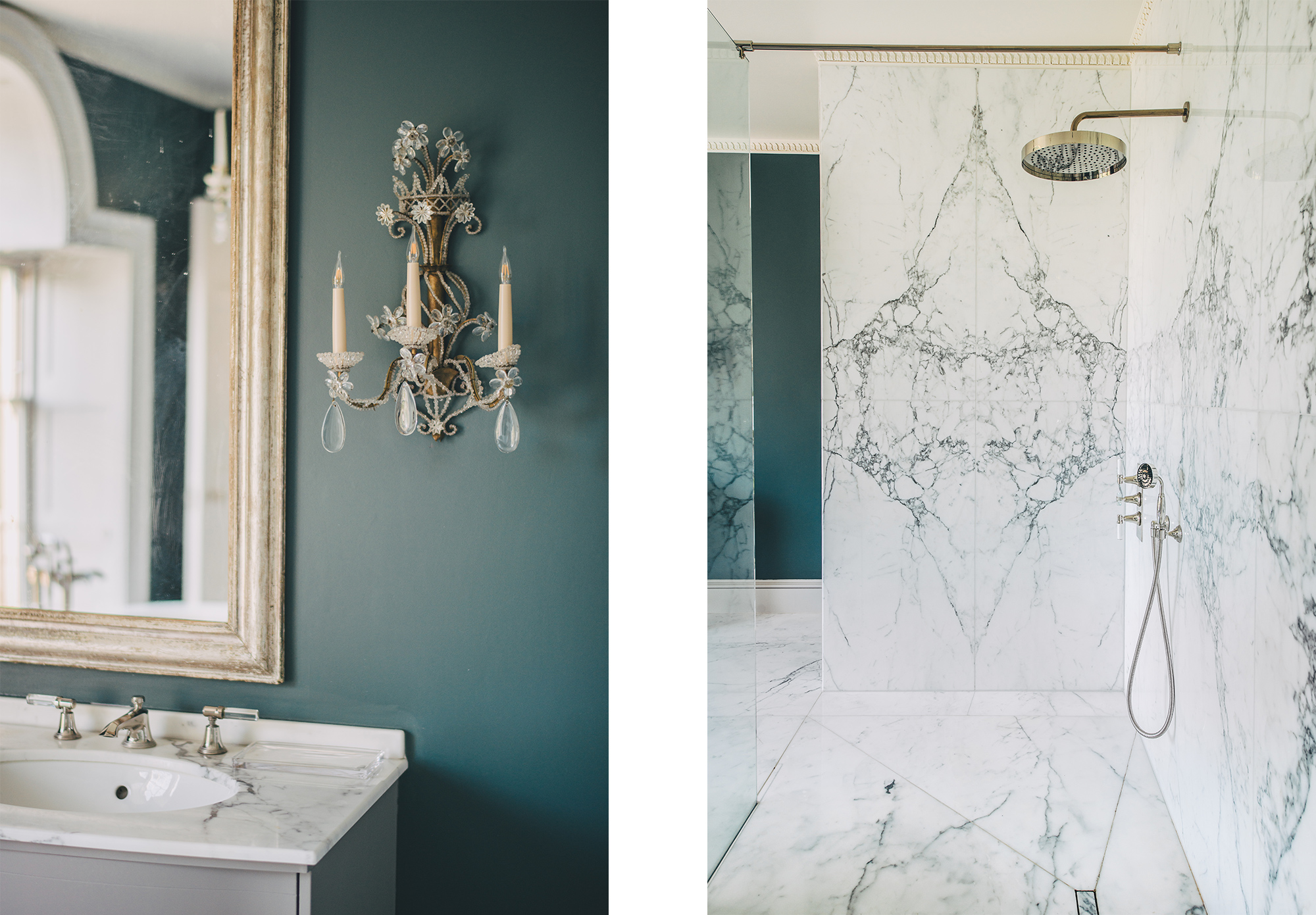 The white marble of the Templeton House/the decor.