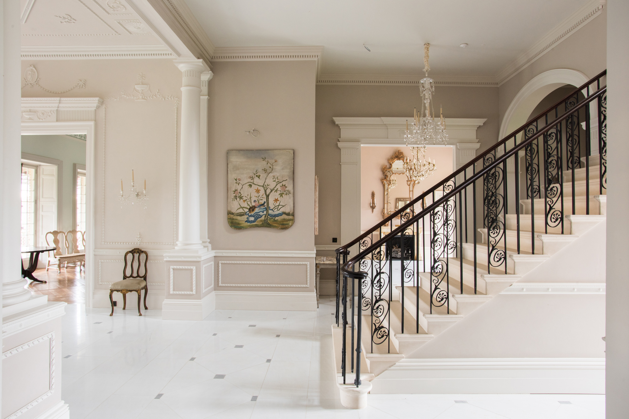 The foyer and staircase of the Templeton house