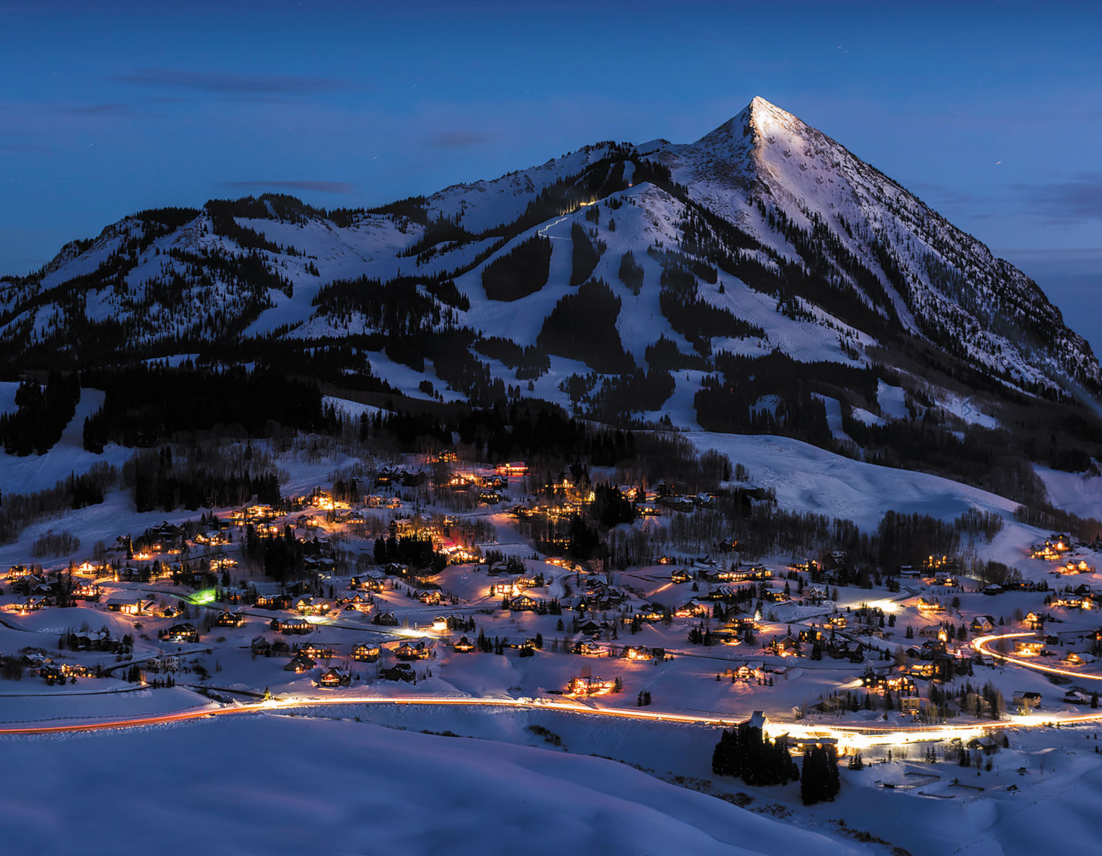 An aerial view of Crested Butte, Colorado