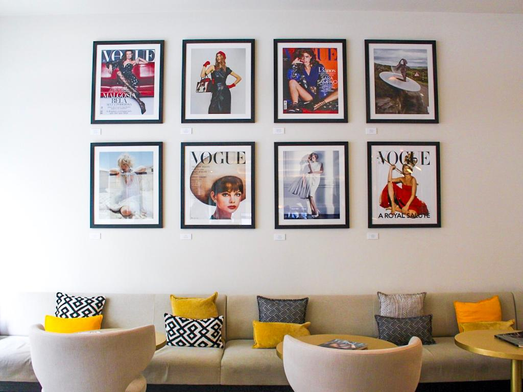 Vogue magazines on the wall at Vogue Cafe in Portoi