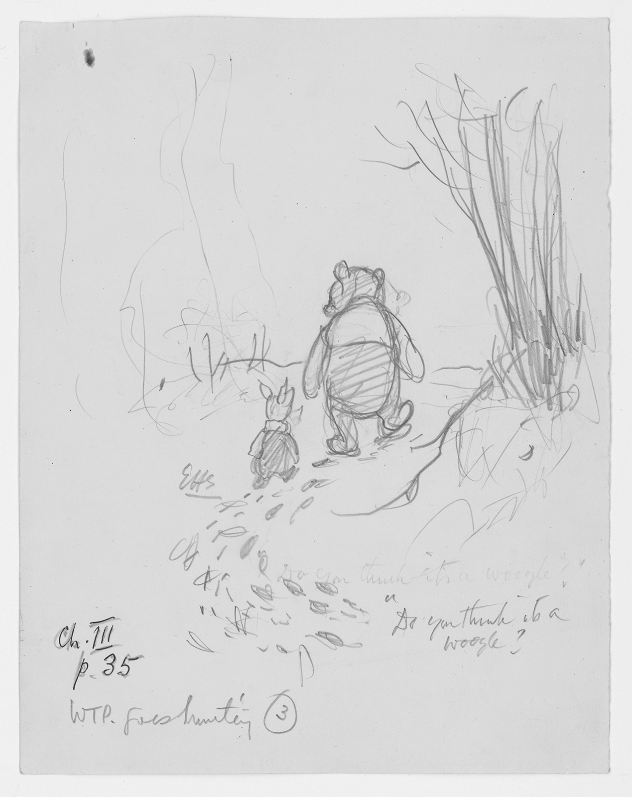 Early sketch of Winnie-the-Pooh