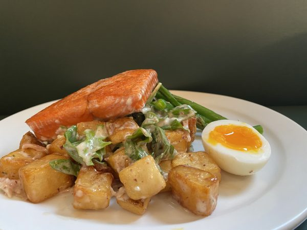 Dinner For One: Seared Salmon Accompanied by Warm Potato Salad and Green Beans