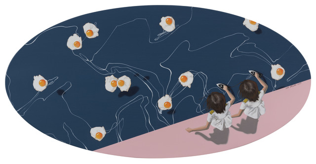 contemporary chinese art, children with eggs in pool