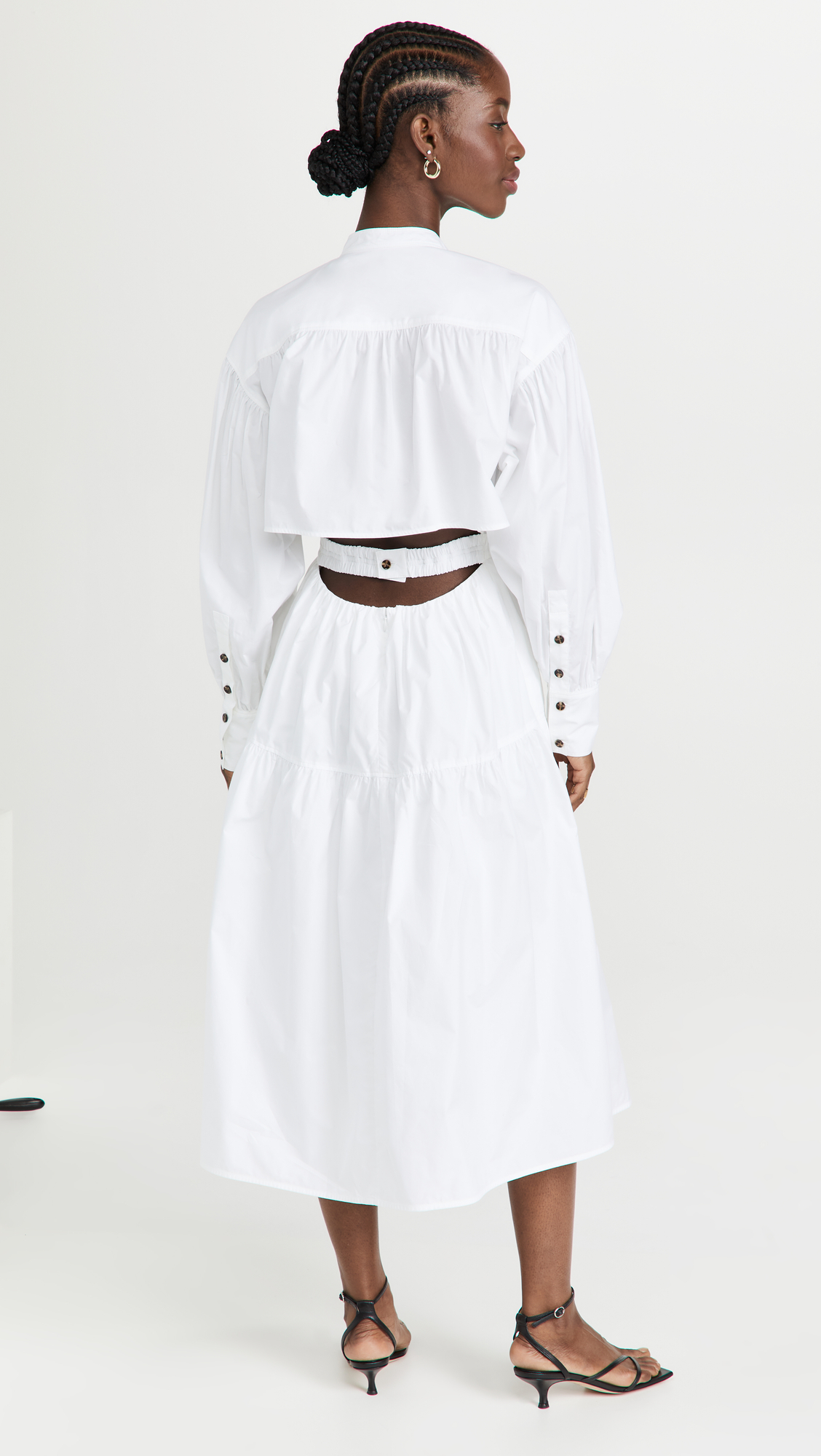 white backless dress with overshirt