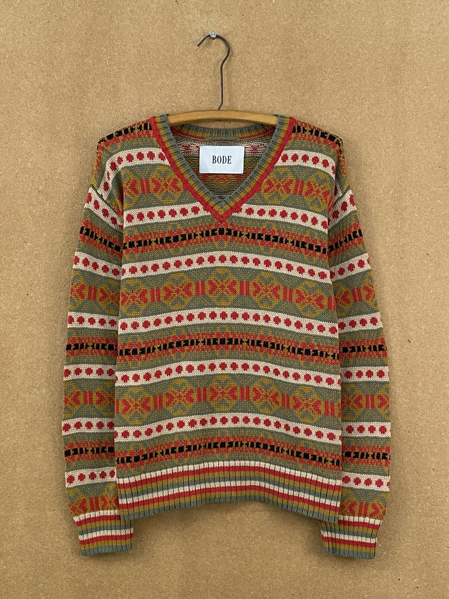 Bode Red Mystic Isle V-Neck Sweater