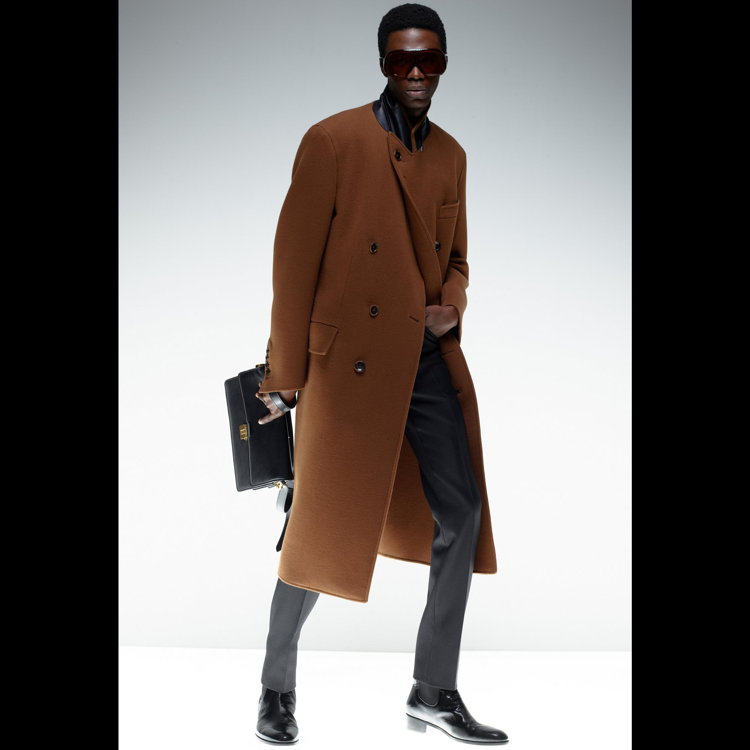 Tom Ford Brown Double Faced Cashmere Peak Lapel Double-Breasted Long Coat